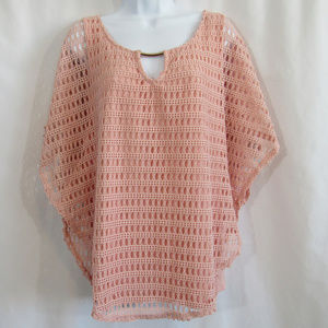 Naif Peach Coral crochet top with under tank 1X
